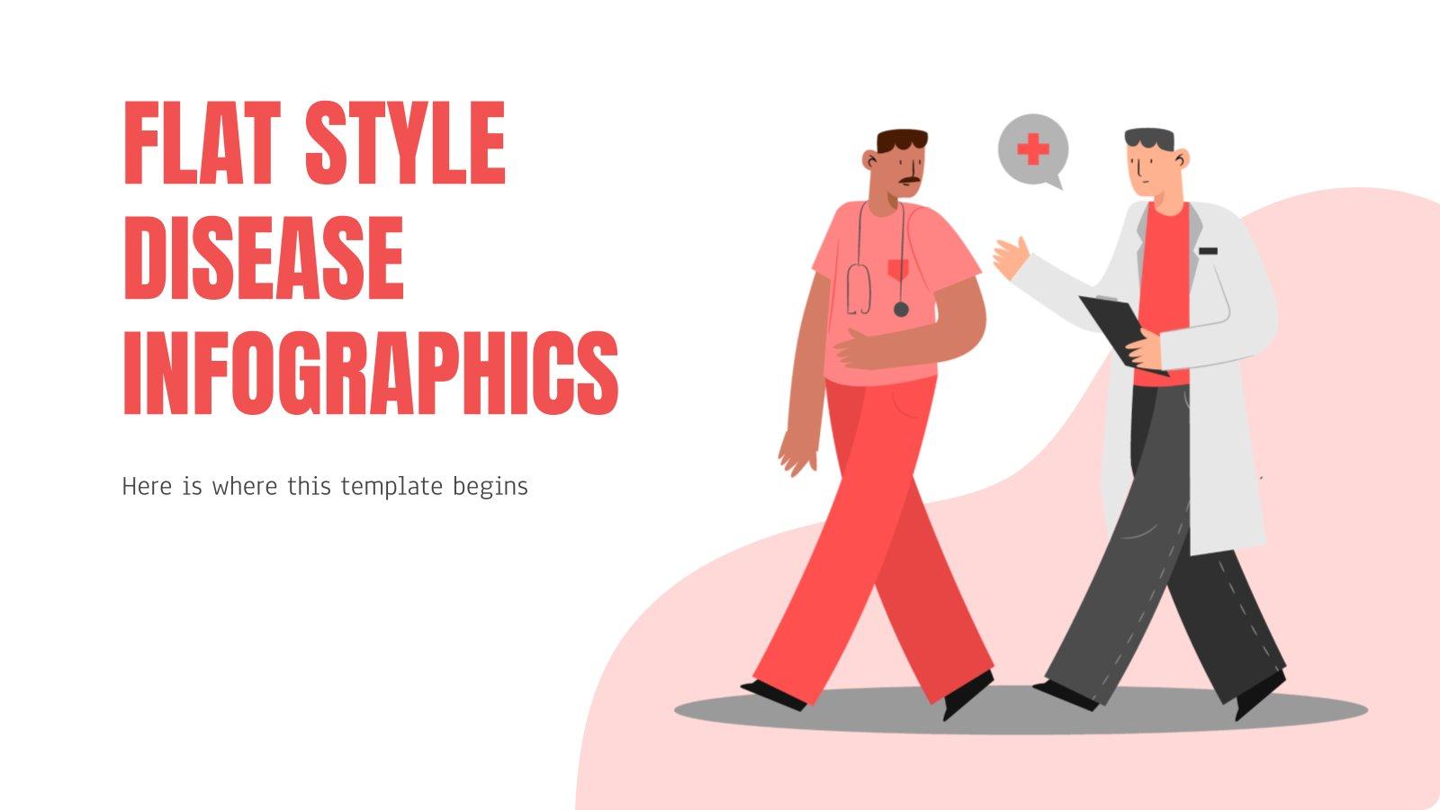 Modelo de apresentação Infográficos doenças estilo plano
