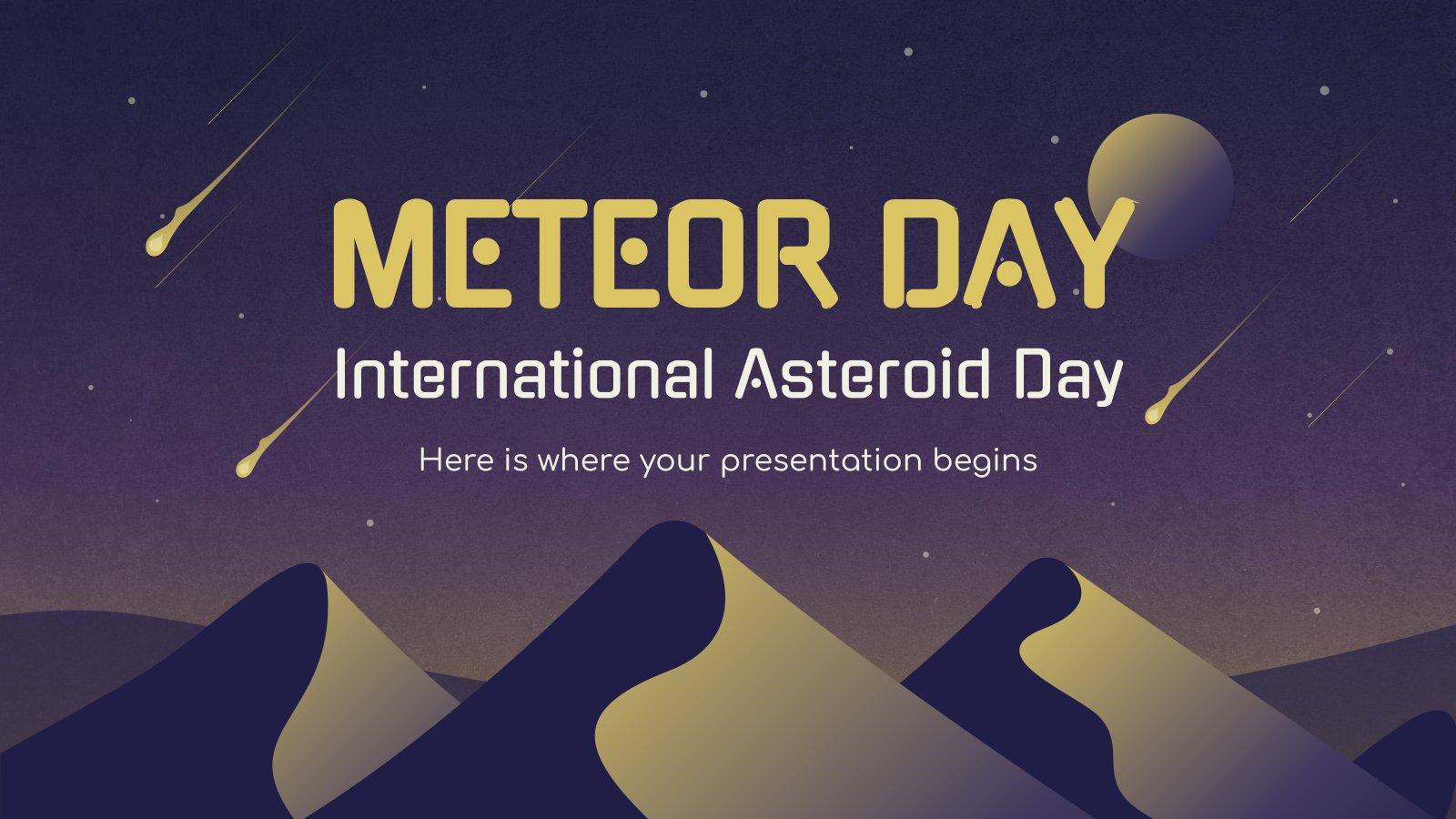 Modelo de apresentação Dia dos Meteoros / Dia Internacional do Asteróide