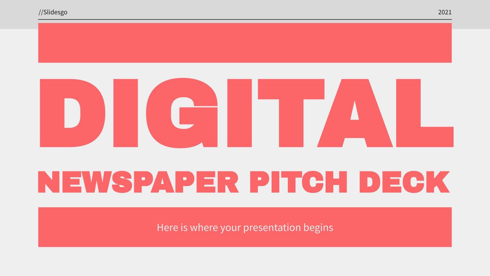 Digital Newspaper Pitch Deck presentation template