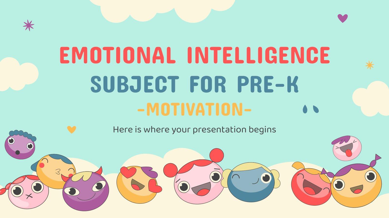 Emotionale Intelligenz Thema für Pre-K: Motivation Präsentationsvorlage
