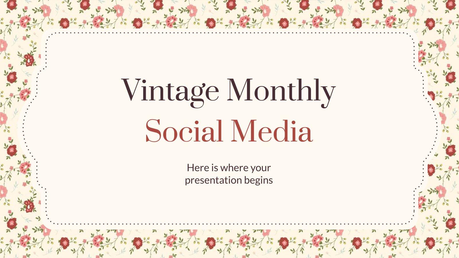 Vintage Monthly Social Media presentation template