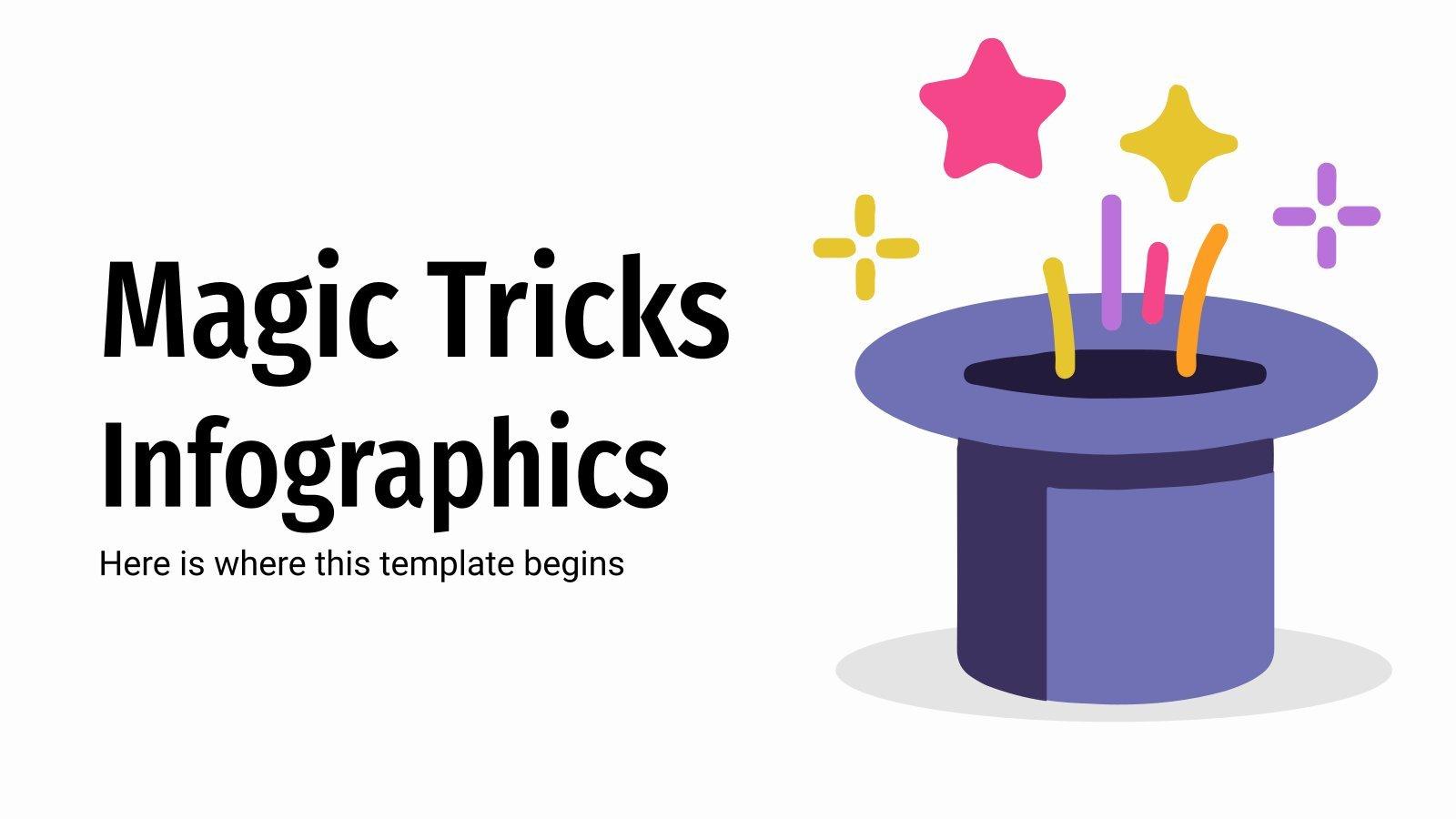 Modelo de apresentação Infográficos de truques de magia