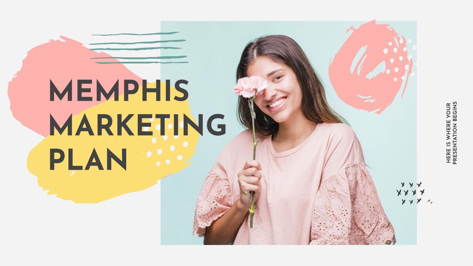 Plantilla de presentación Plan de marketing con estilo Memphis