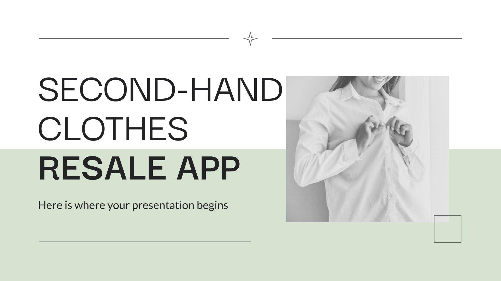 Modelo de apresentação App de revenda de roupas de segunda mão