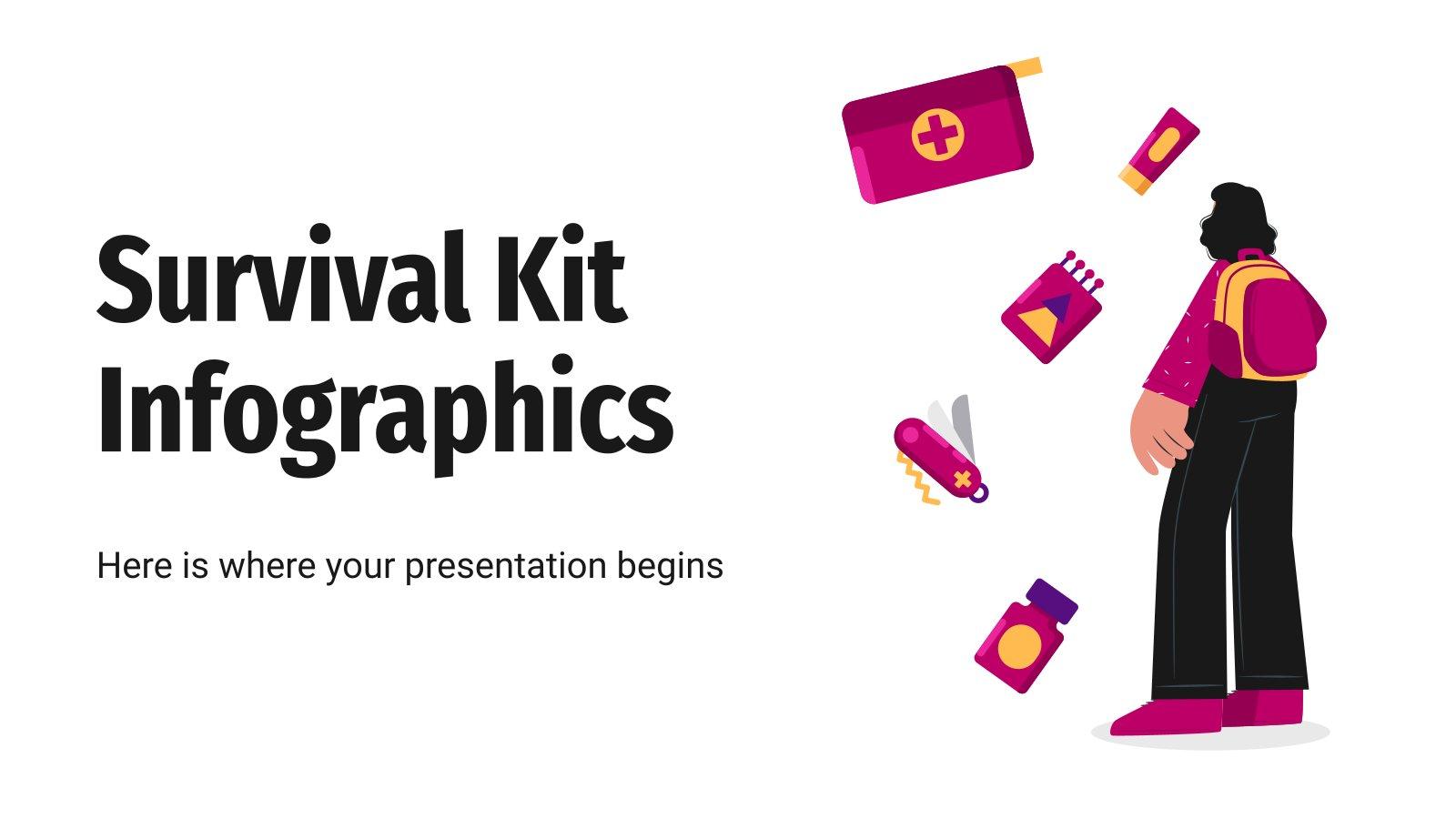 Modelo de apresentação Infográficos kit de sobrevivência