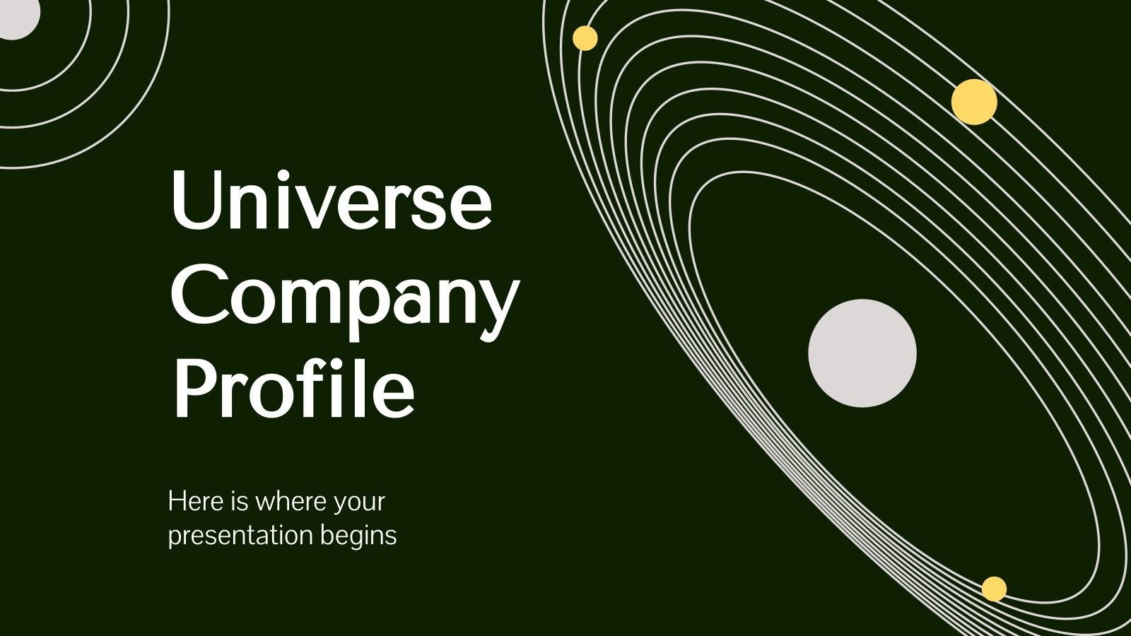 Modelo de apresentação Perfil da empresa galáctica flat