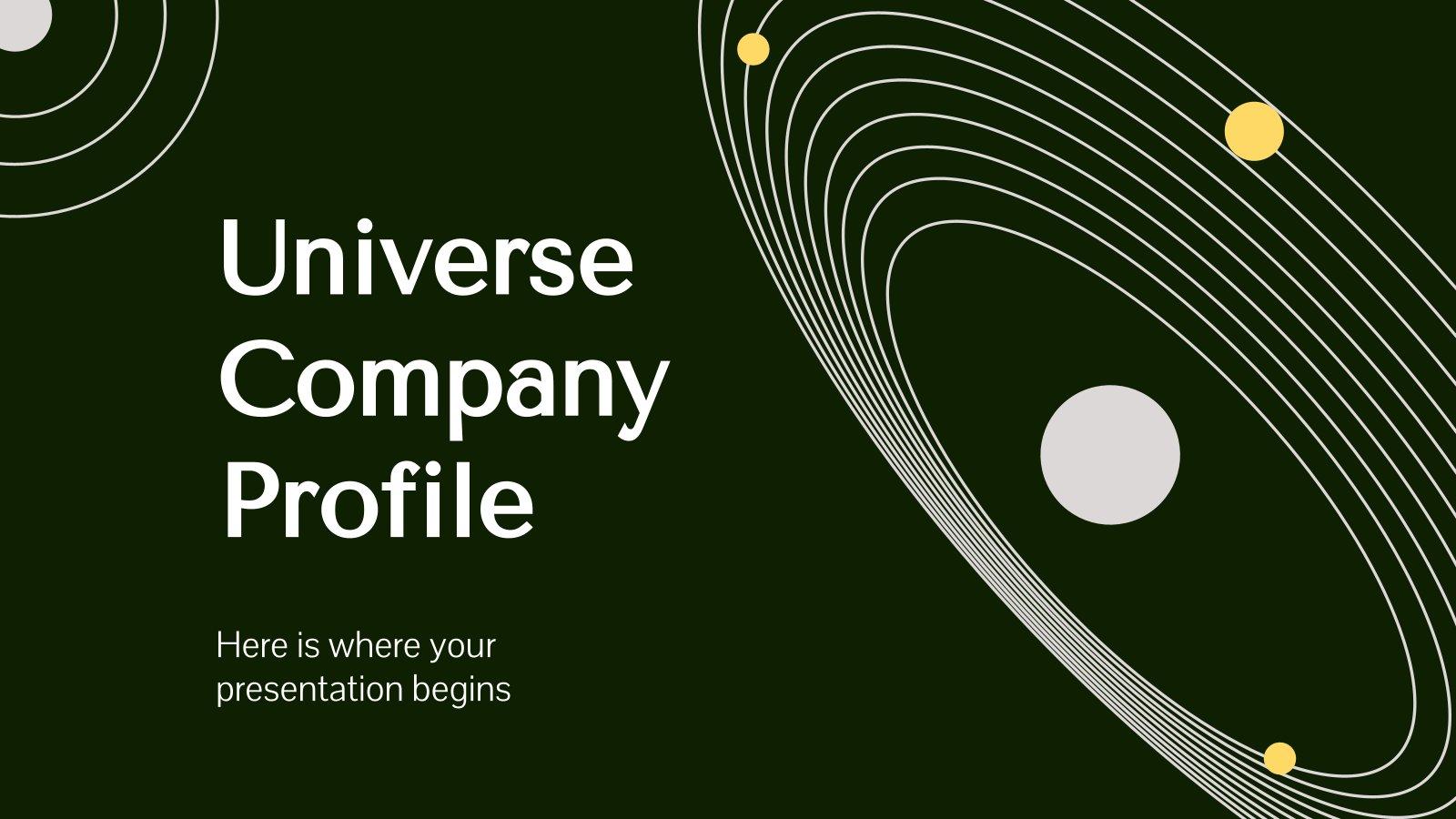 Flaches Universum Firmenprofil Präsentationsvorlage