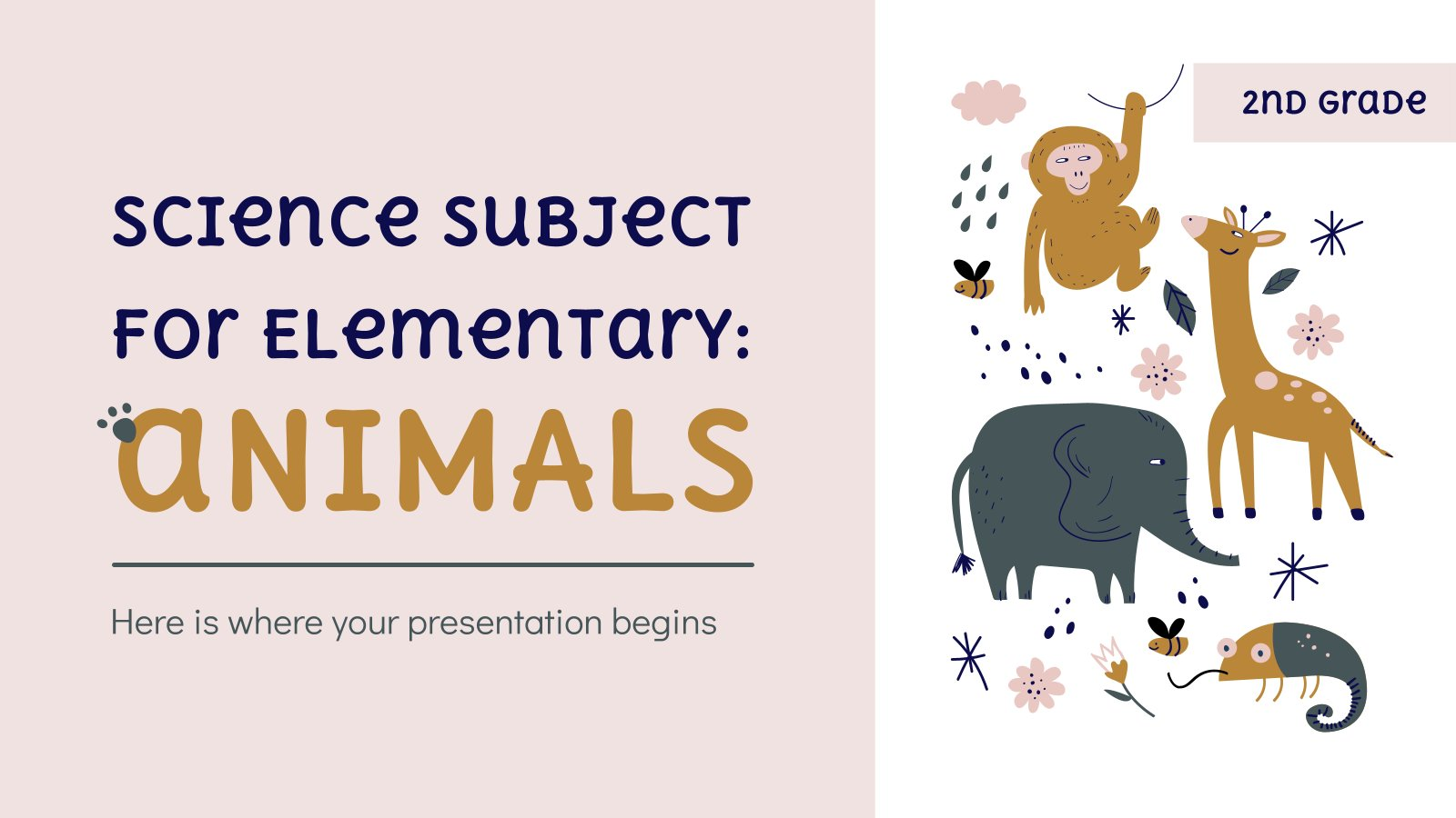 Science Subject for Elementary - 2nd Grade: Animals presentation template