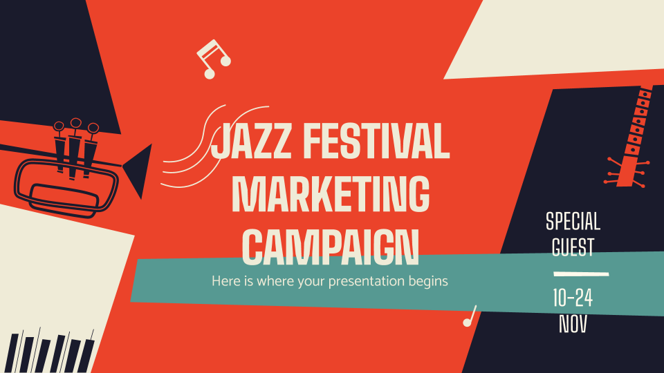 Jazz-Festival Marketing-Kampagne Präsentationsvorlage