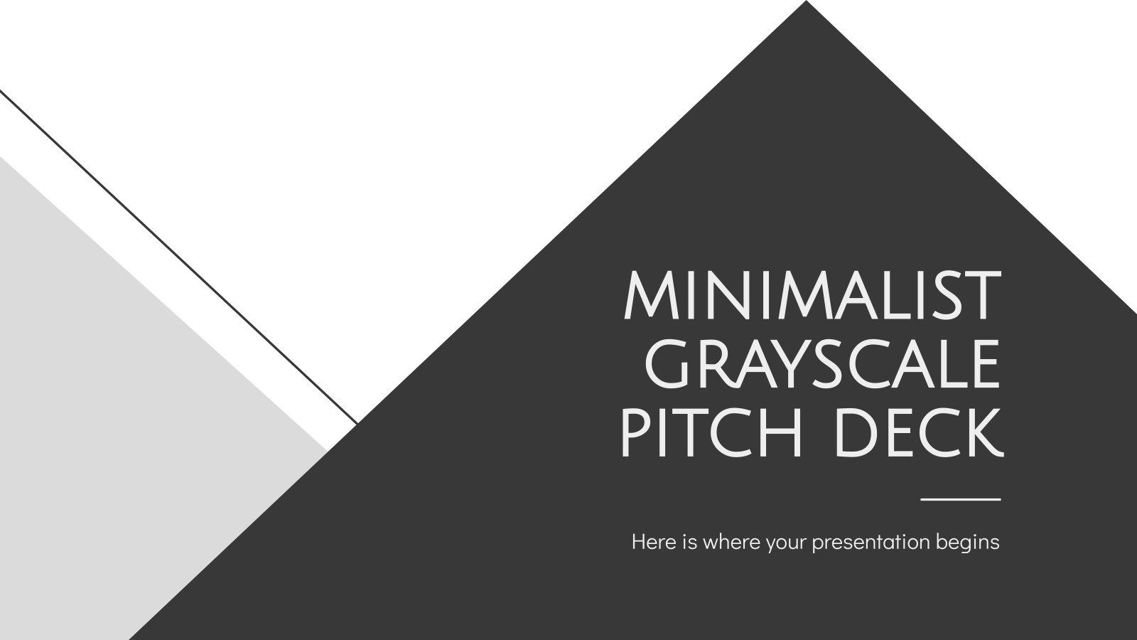 Pitch deck minimaliste avec niveaux de gris : Modèles de présentation