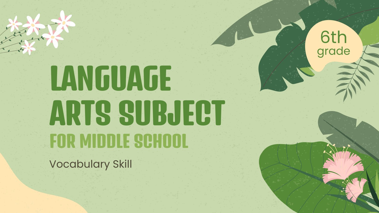 Language Arts Subject for Middle School presentation template