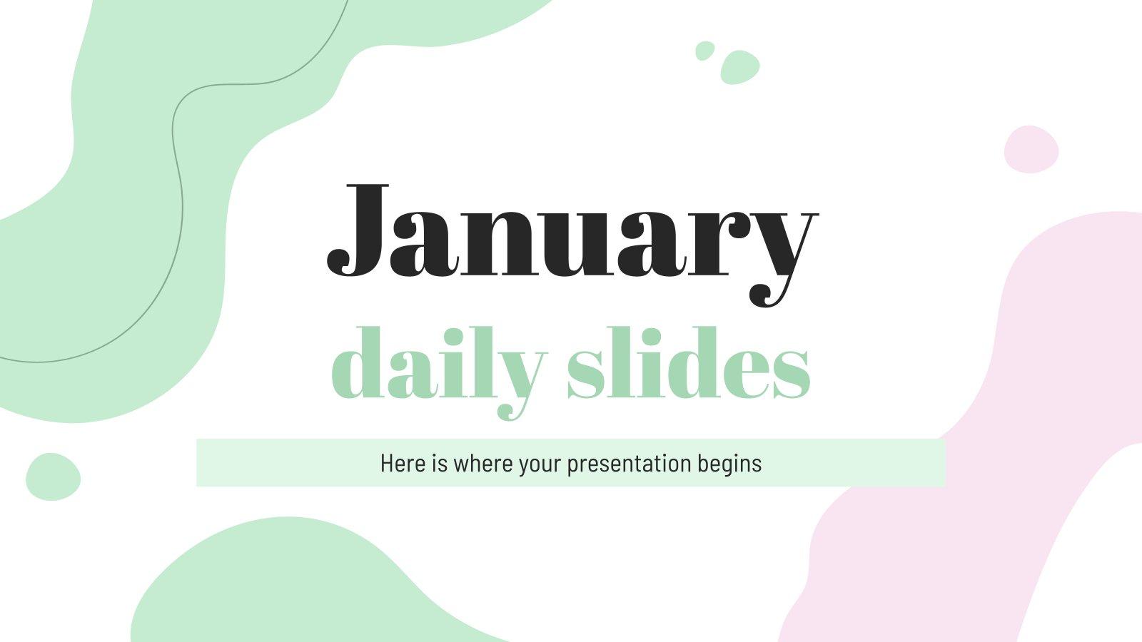 Januar tägliche Folien Präsentationsvorlage