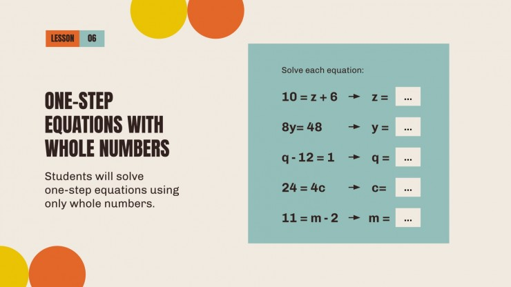Maths for Middle School - 6th Grade: Number Sense and Operations presentation template