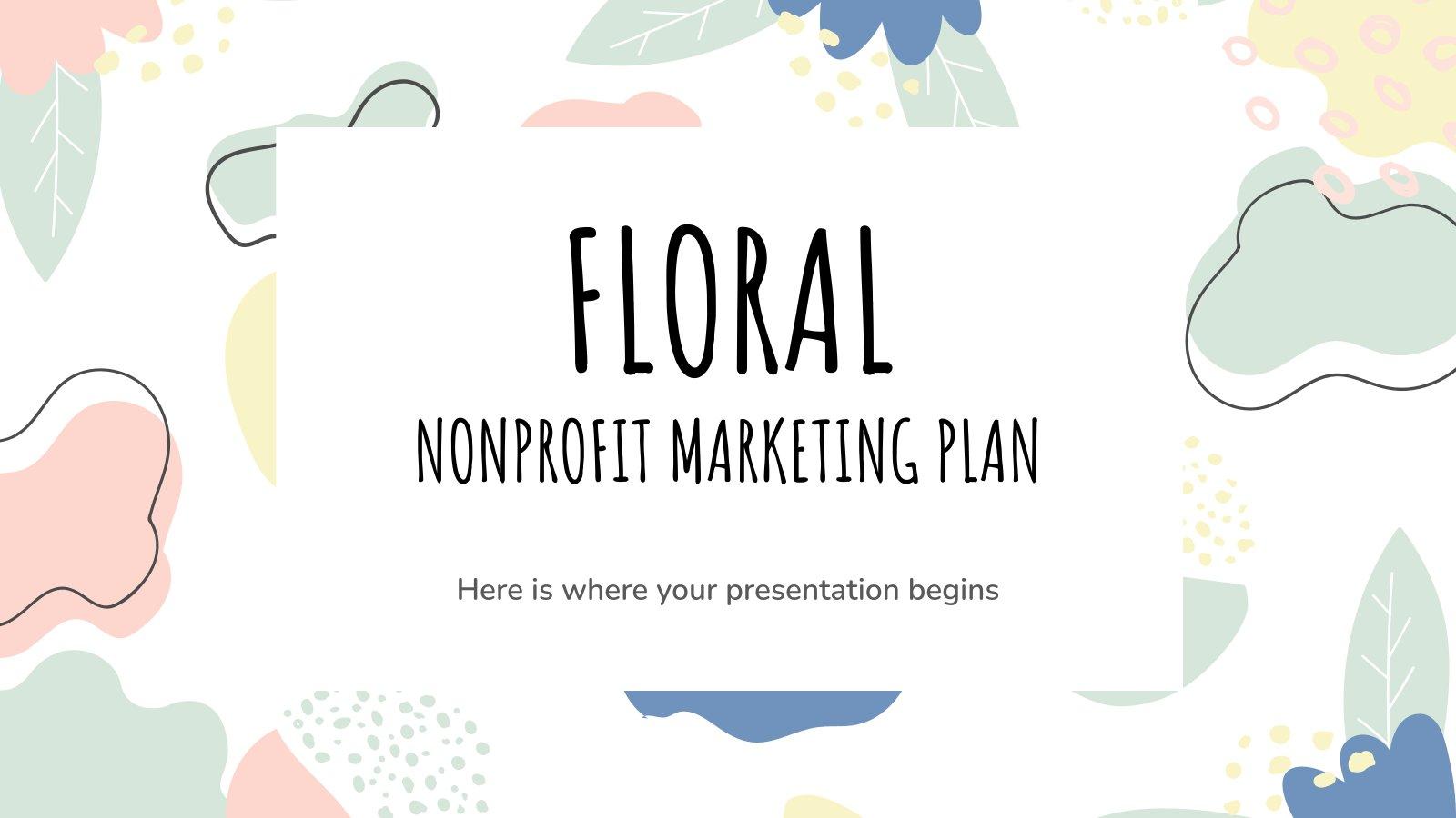 Modelo de apresentação Plano de marketing floral para ONGs