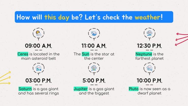 Plantilla de presentación Lección sobre el tiempo para preescolar