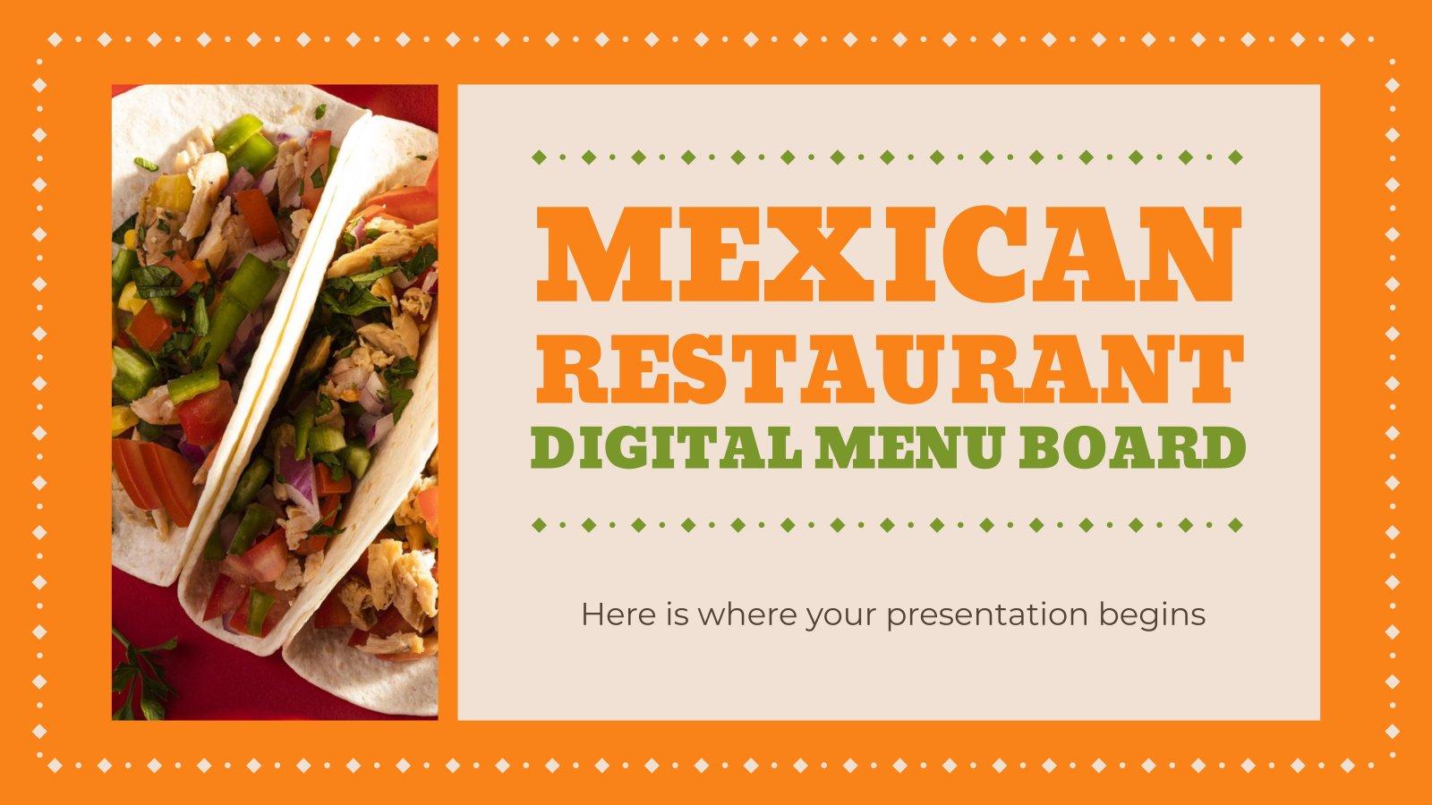 Mexican Restaurant Digital Menu Board presentation template