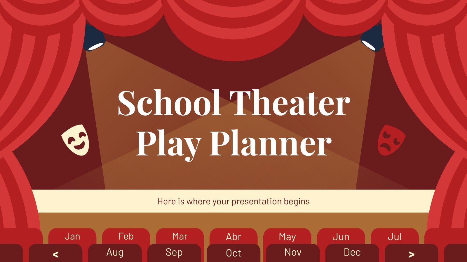 Plantilla de presentación Planificador de obras de teatro escolares