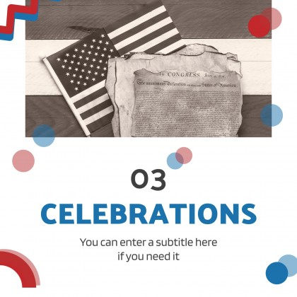 Plantilla de presentación Celebremos el Día de la Independencia de EE.UU.