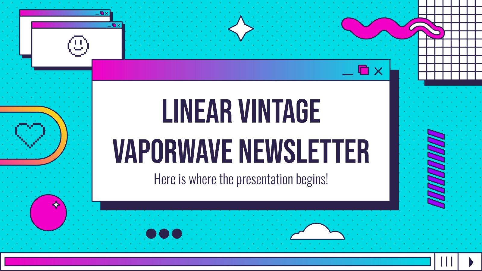 Modelo de apresentação Boletim linear vintage vaporwave