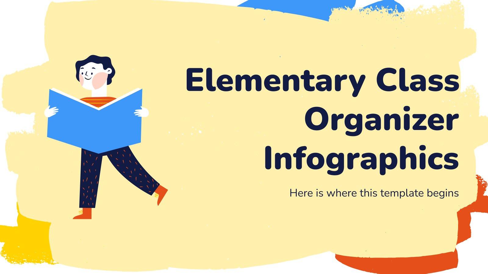 Modelo de apresentação Infográficos agenda de aula infantil