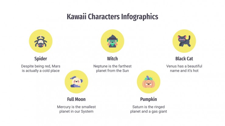 Modelo de apresentação Infográficos com personagens kawaii