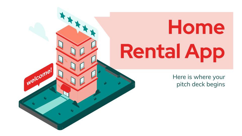 Modelo de apresentação Pitch deck de app para aluguel de férias