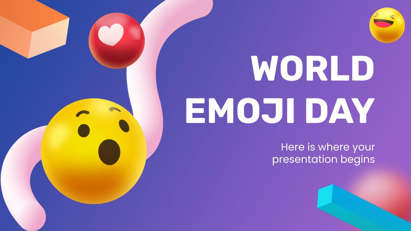 Welt-Emoji-Tag Präsentationsvorlage
