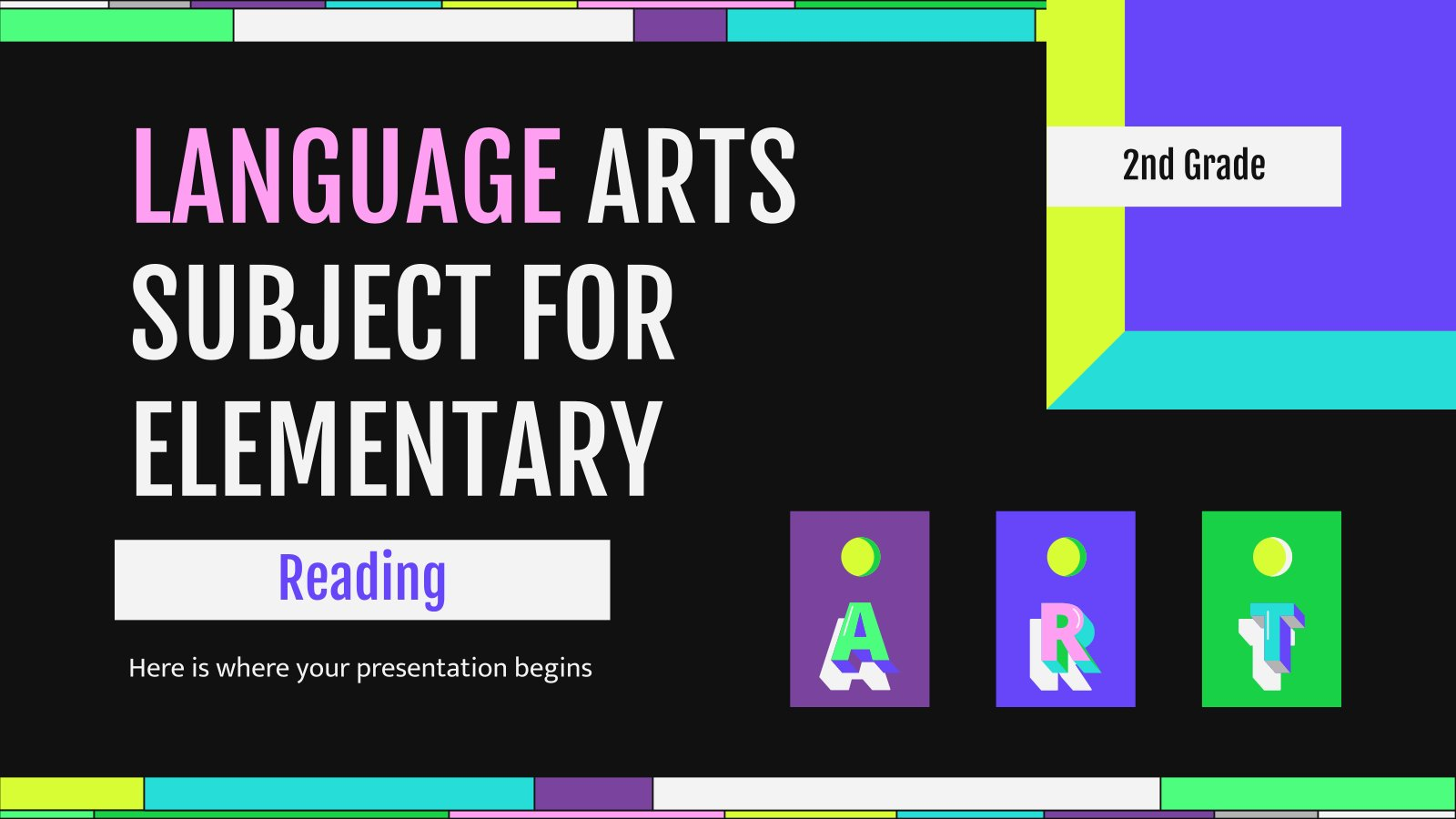 Language Arts Subject for Elementary - 2nd Grade: Reading presentation template