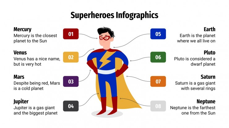 Superheroes Infographics presentation template