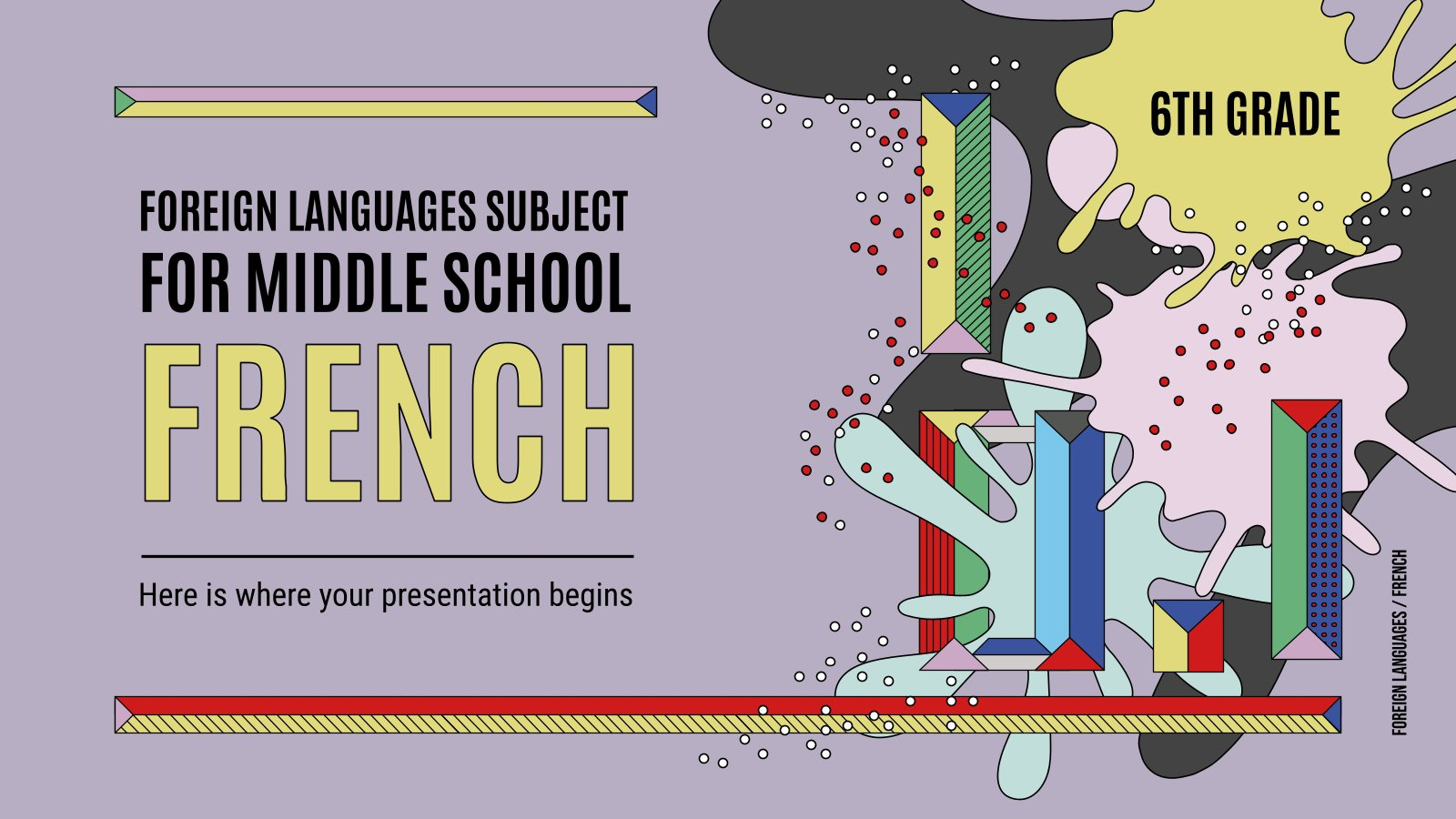 Foreign Languages Subject for Middle School: French presentation template