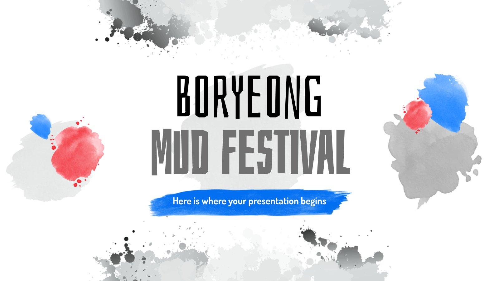 Modelo de apresentação Festival de Lama de Boryeong