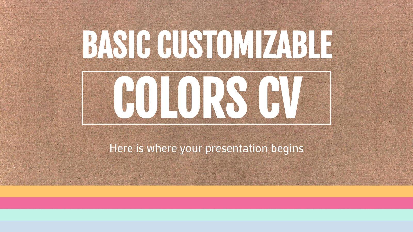 Basic Customizable Colors CV presentation template