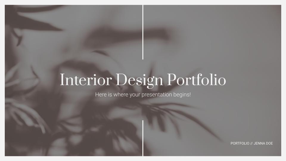 Modelo de apresentação Portfólio de design de interiores