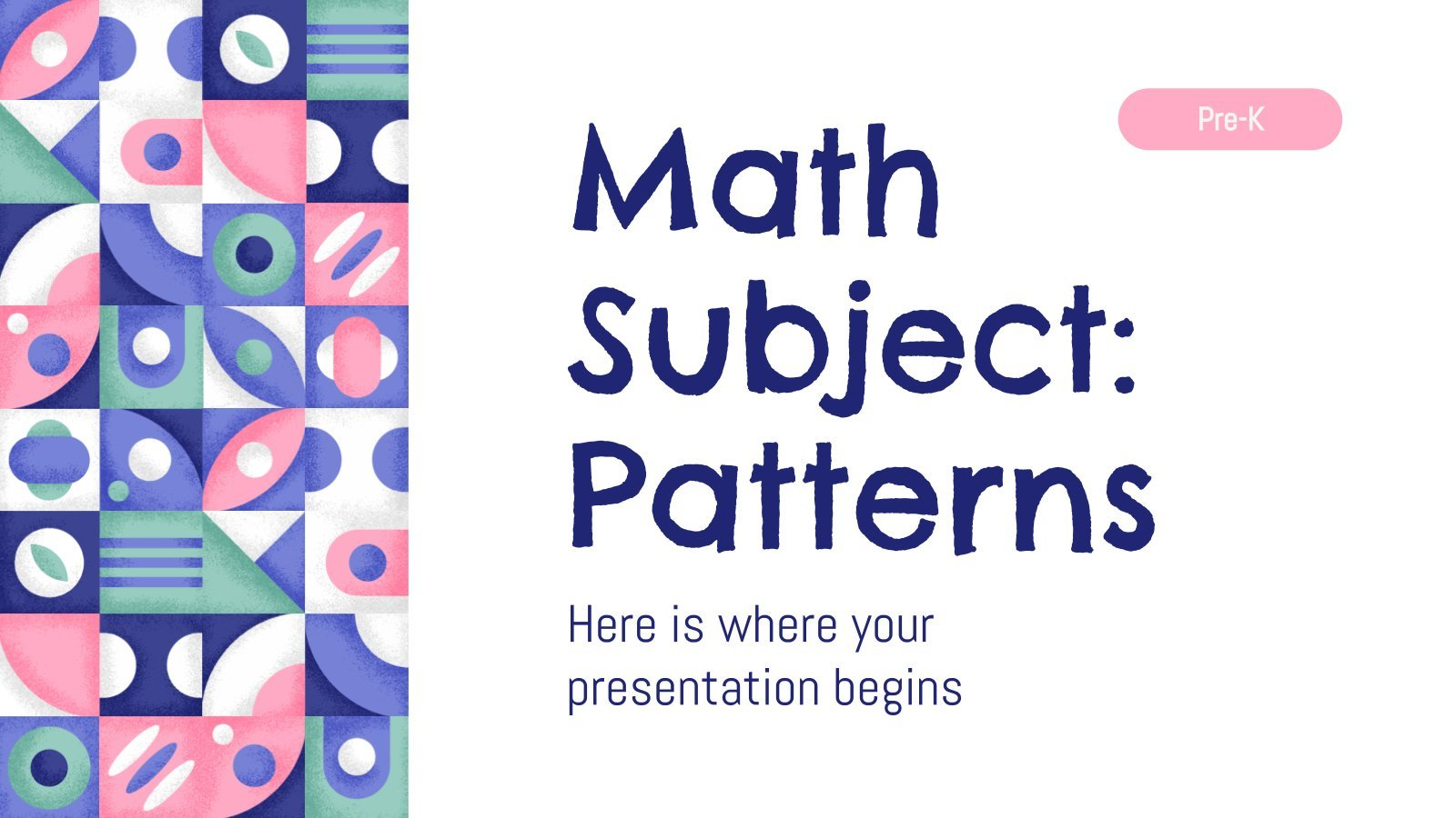 Math Subject for Pre-K: Patterns presentation template