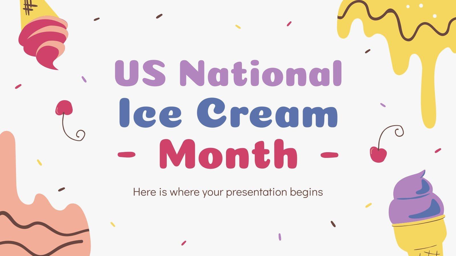 Plantilla de presentación Mes del helado en EEUU