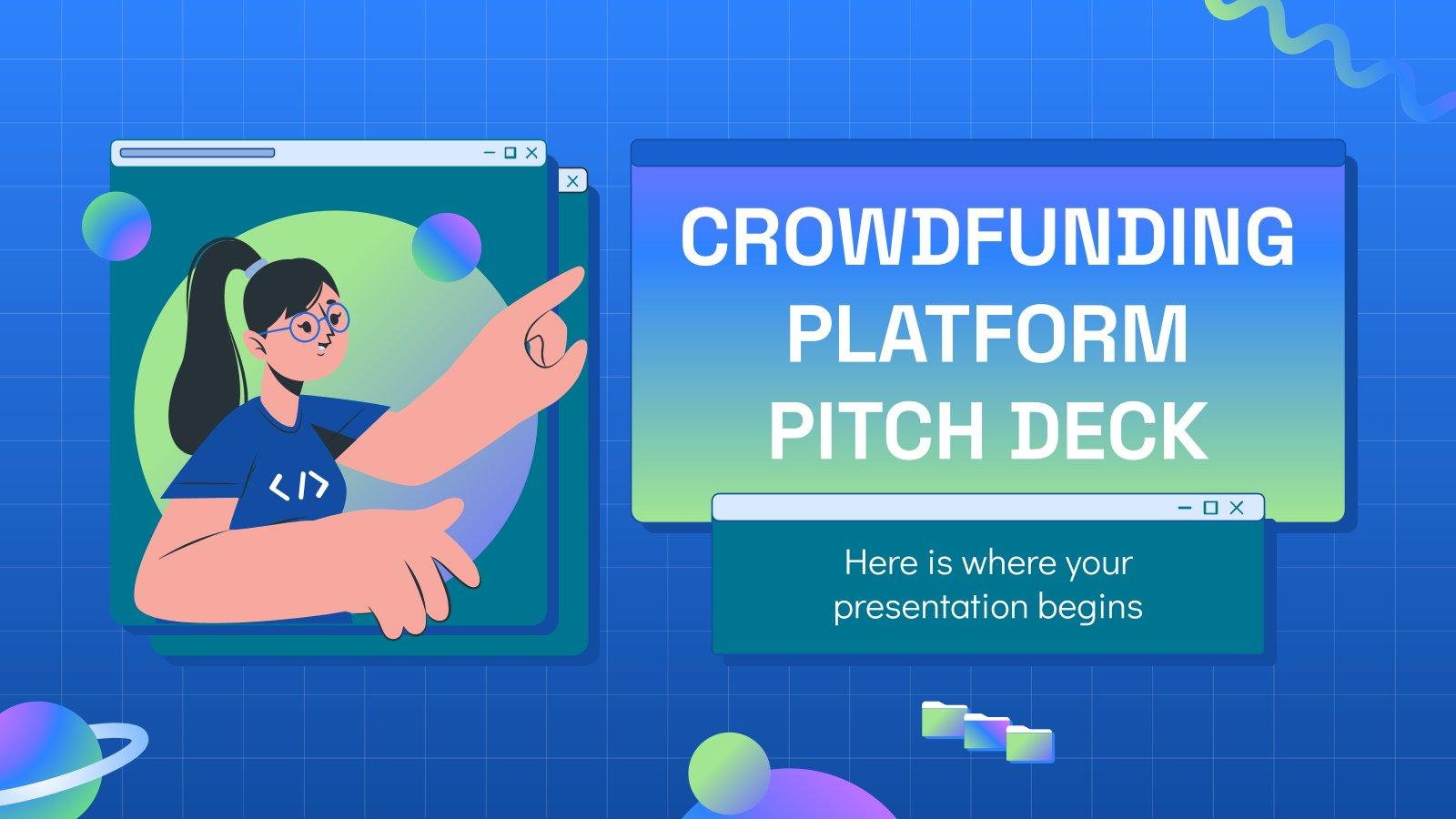 Modelo de apresentação Pitch deck da plataforma de financiamento coletivo