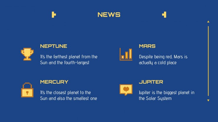 Modelo de apresentação Newsletter estilo videogame retrô