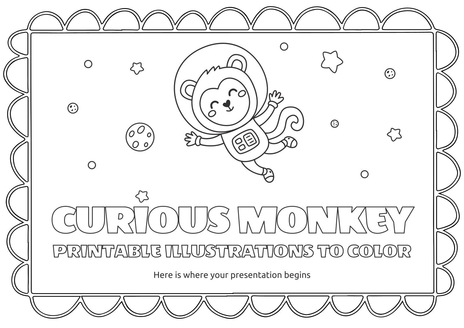Modelo de apresentação Ilustrações imprimíveis de macacos curiosos