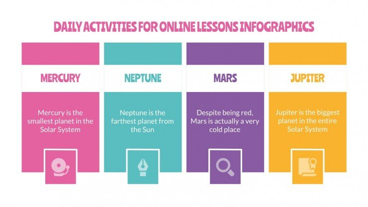 Daily Activities for Online Lessons Infographics presentation template