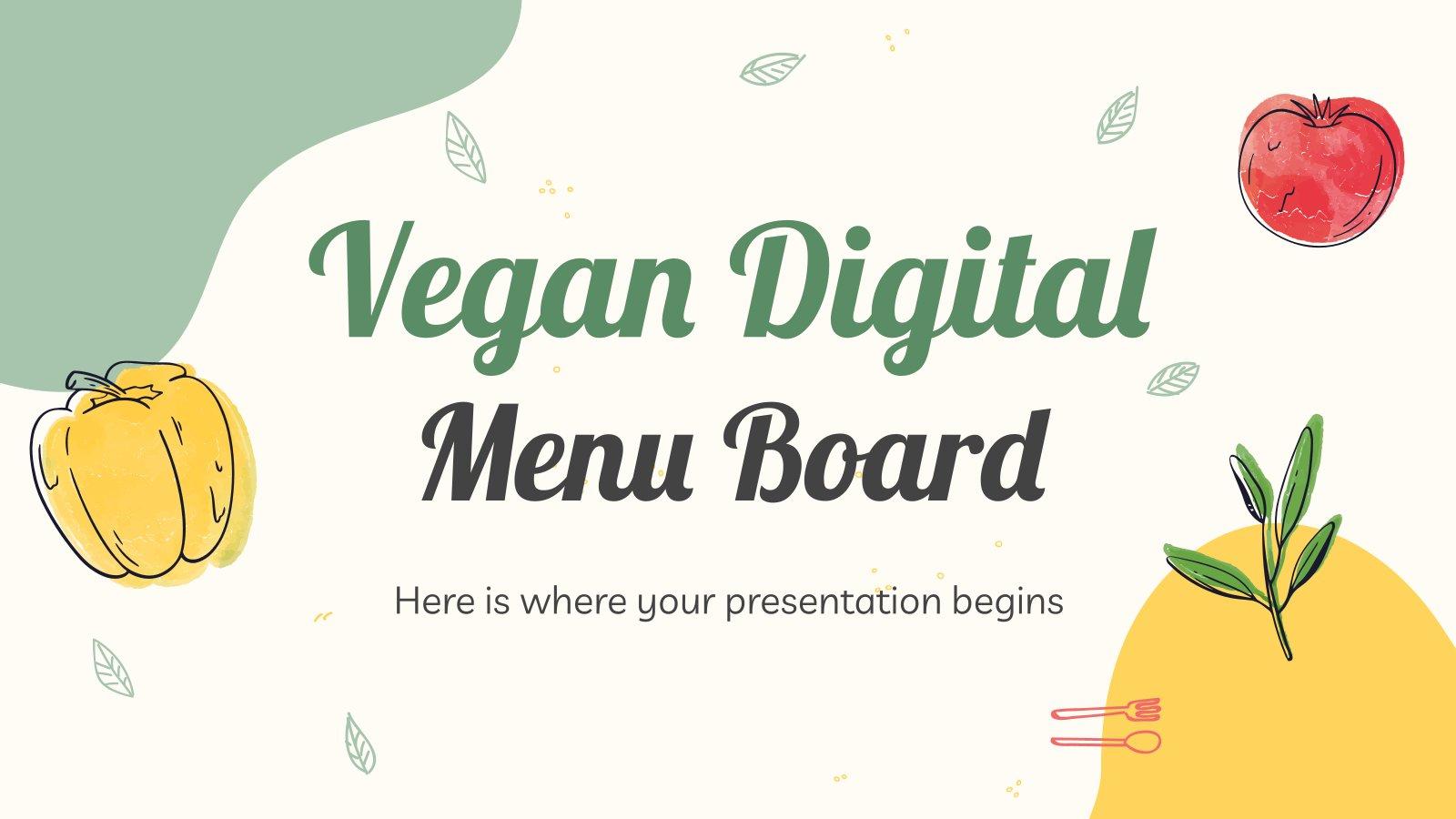 Menu numérique pour restaurant végétalien : Modèles de présentation