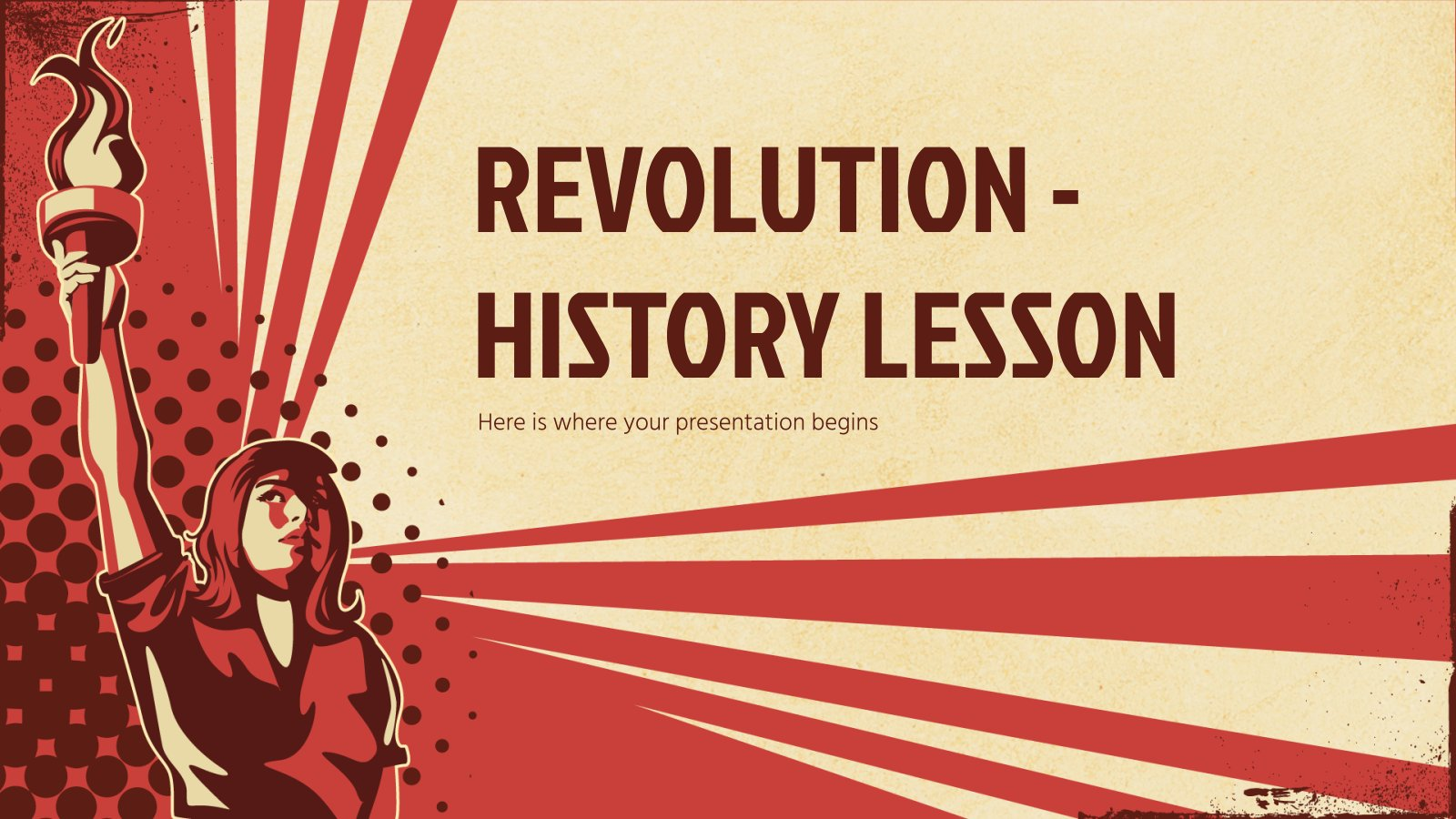 Plantilla de presentación Revolución: Una lección de historia