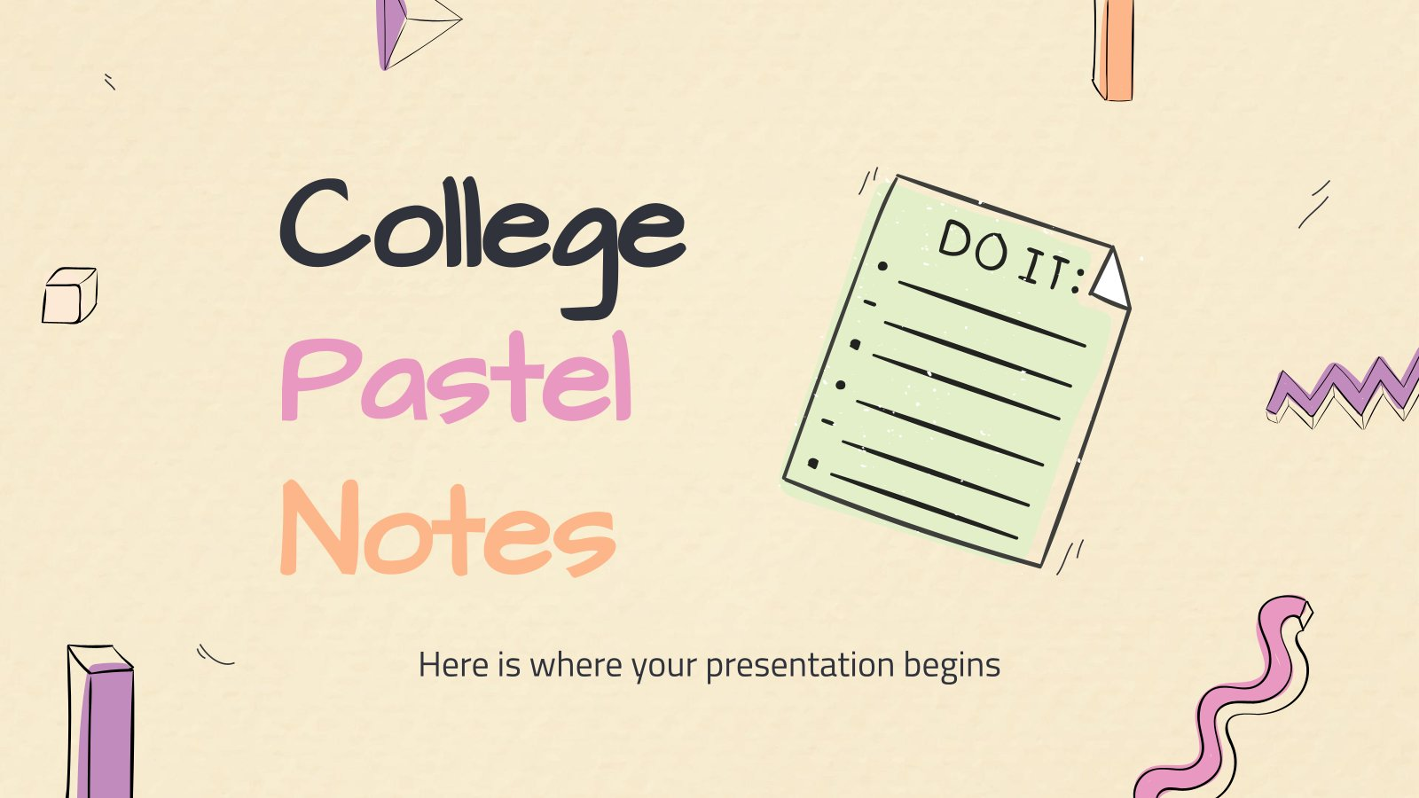 College Pastel Notes presentation template
