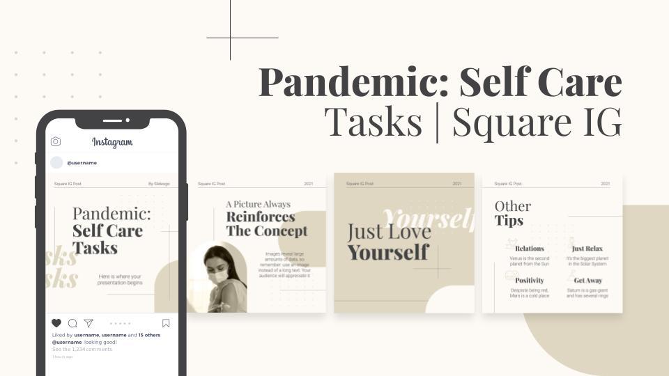 Pandemie: Self care IG-Posts Präsentationsvorlage