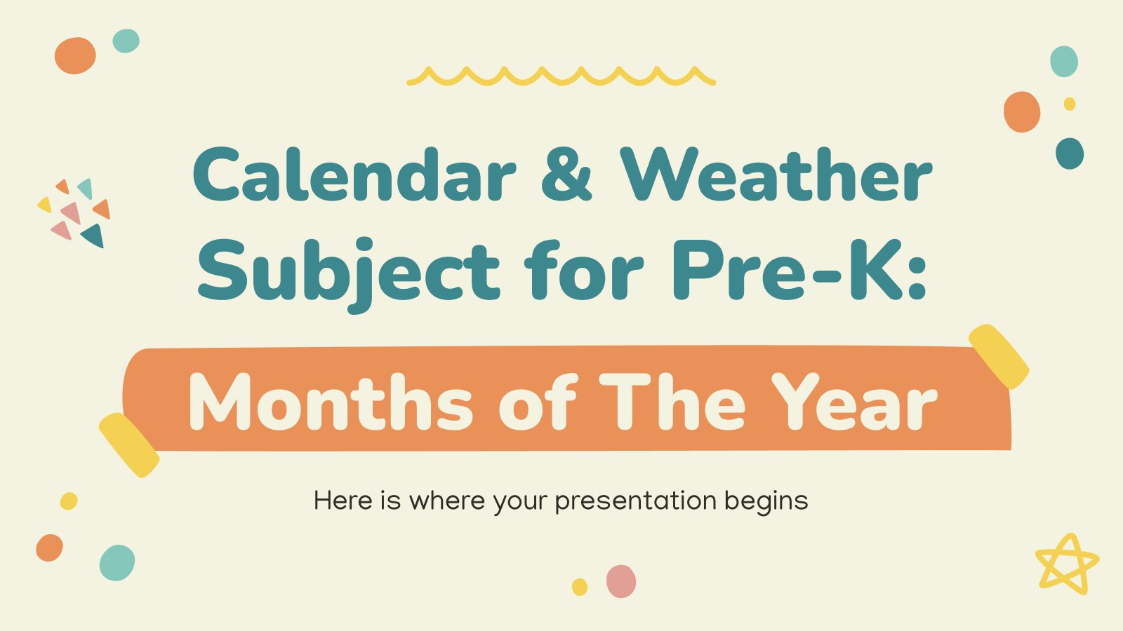 Calendar & Weather Subject for Pre-K: Months of The Year presentation template