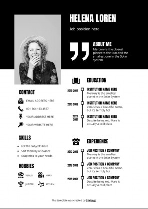 Schwarz-Weiß Minimalistischer CV Präsentationsvorlage