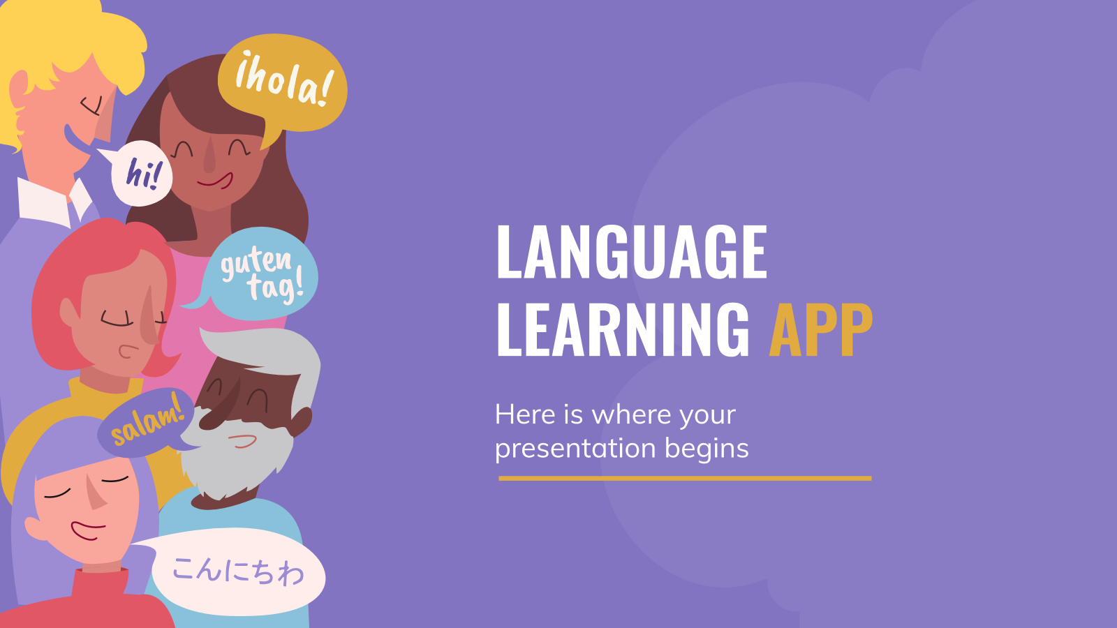 Language Learning App Pitch Deck presentation template