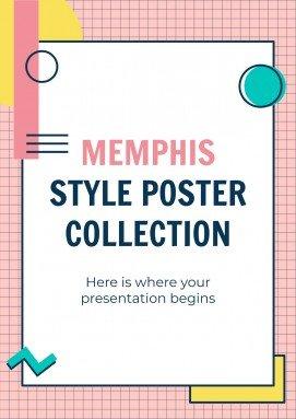Modelo de apresentação Cartazes estilo Memphis