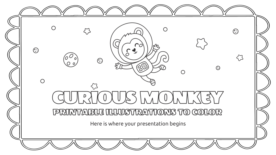 Neugieriger Affe druckbare Illustrationen Präsentationsvorlage