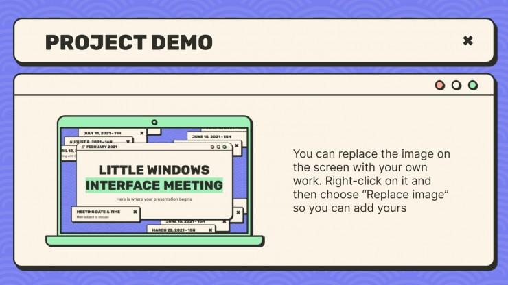 Plantilla de presentación Reunión con ventanas de interfaz