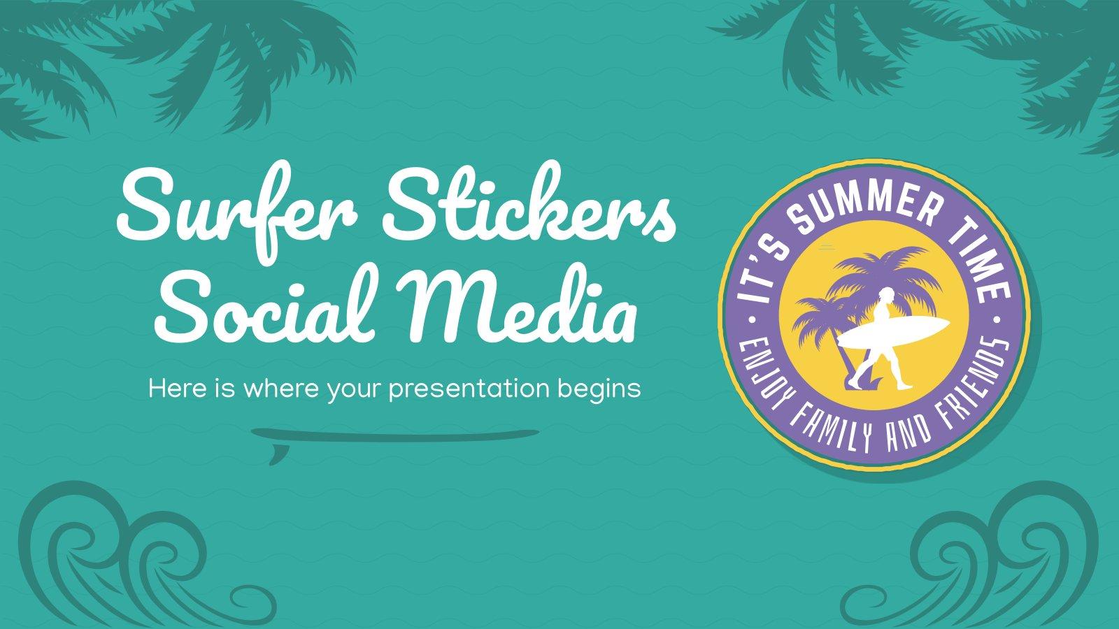Surfer Aufkleber Soziale Medien Präsentationsvorlage